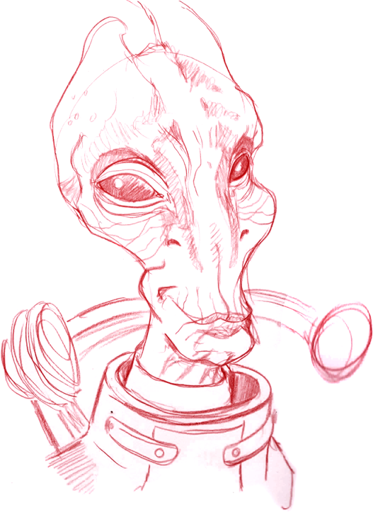 Mordin Solus warm up sketch (Mass Effect)